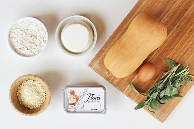 Υλικά για Σπιτικά Νιόκι Κολοκύθας με Flora με βούτυρο