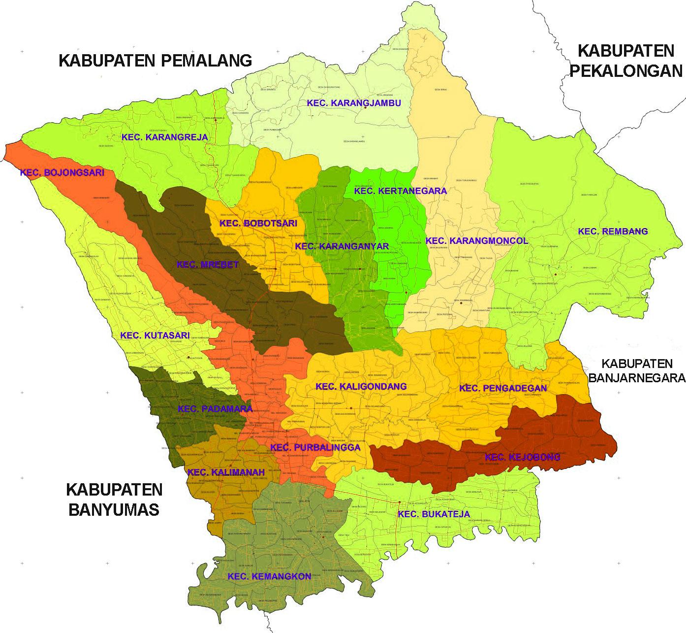 Gambar Peta Kecamatan Kabupaten Purbalingga
