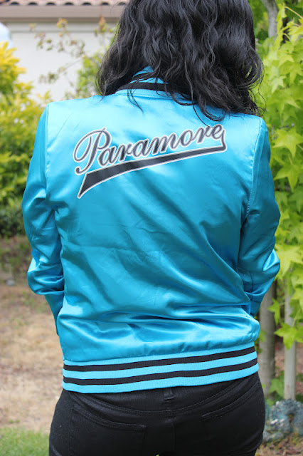 Teal Satin Paramore Bomber Jacket Weekend Outfit