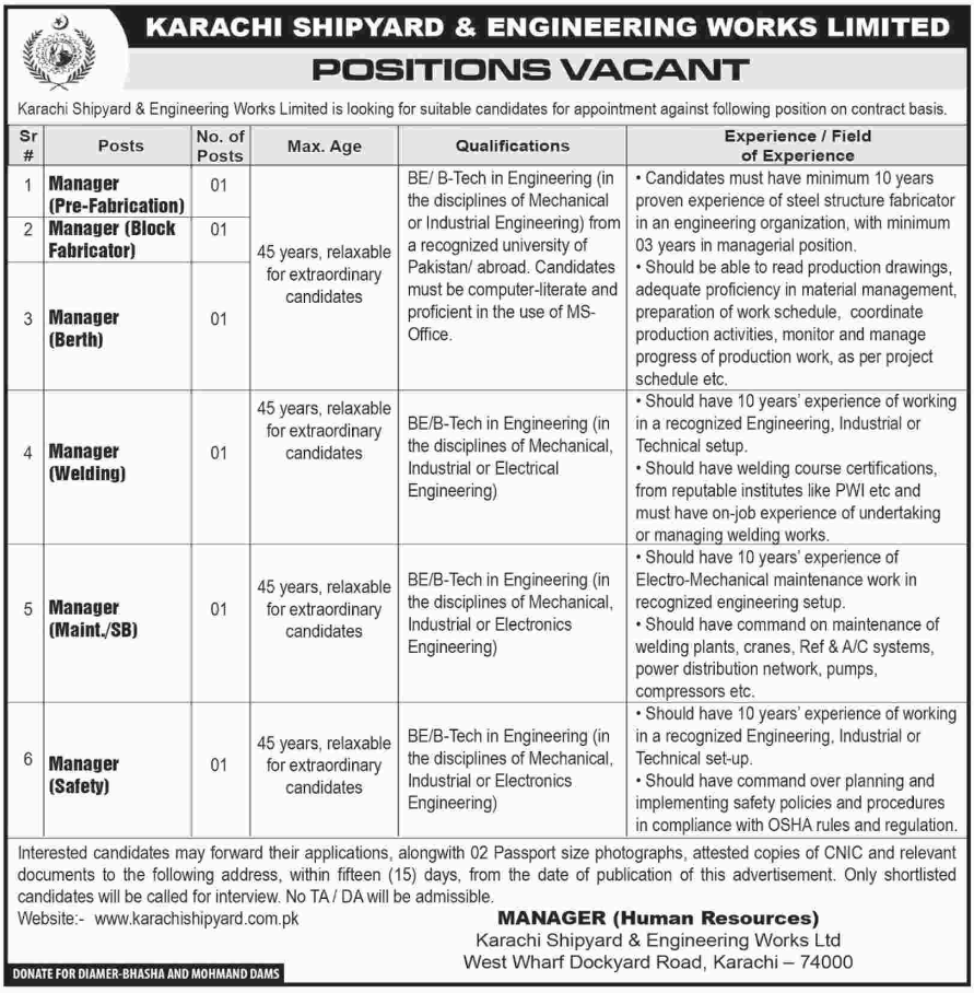 Advertisement for Karachi Shipyard and Engineering Works Jobs 2019