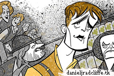 Squigs caricature of Daniel Radcliffe and The Cripple of Inishmaan cast