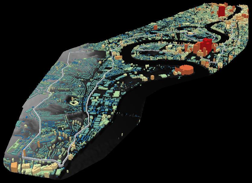 The London Marathon route in 3D