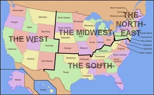ABD Bölgeleri Haritası - Harita Üzerinde Amerika\u0027nın Bölgeleri - amerika haritasi