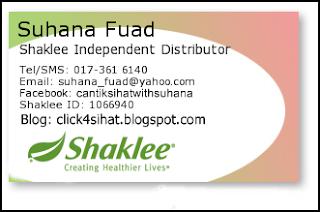 Suhana Fuad adalah Pengedar Shaklee Puchong serta seluruh Malaysia