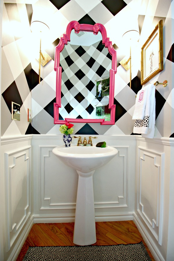 powder bath makeover, before and after, one room challenge, DIY artwork, buffalo check wall, black and white gingham, brass sconces, hot pink la barge mirror, pedestal sink, white moulding