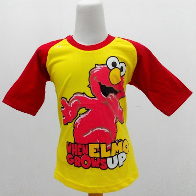 Kaos Raglan Anak Karakter When Elmo Grows Up Kuning