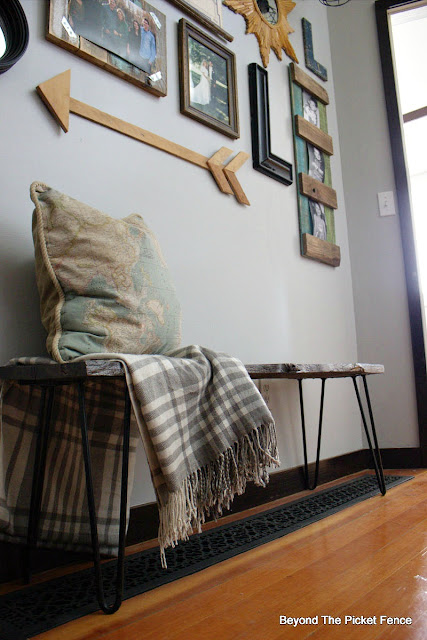rustic modern bench made with reclaimed barnwood
