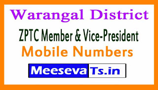ZPTC Member & Vice-President Mobile Numbers List Warangal District in Telangana State