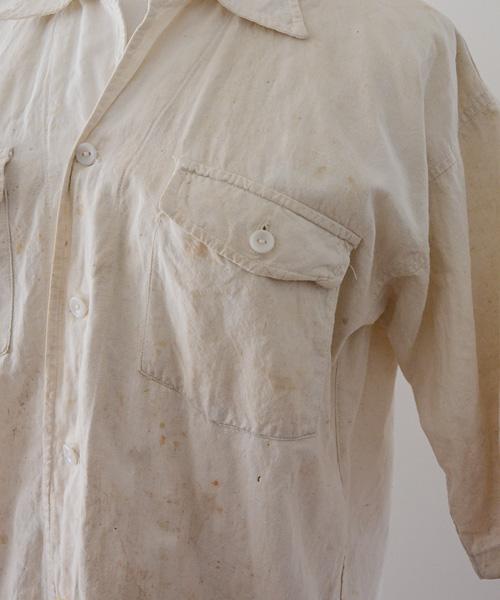 ワークシャツ 半袖 ジャパンヴィンテージ FUNS 50年代 グランジ 白 Japanese Vintage 50s Grunge Stain Work Shirt