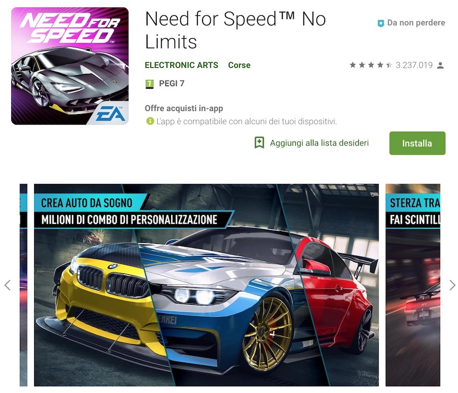 Trucchi Need for Speed No Limits Mod Apk Android