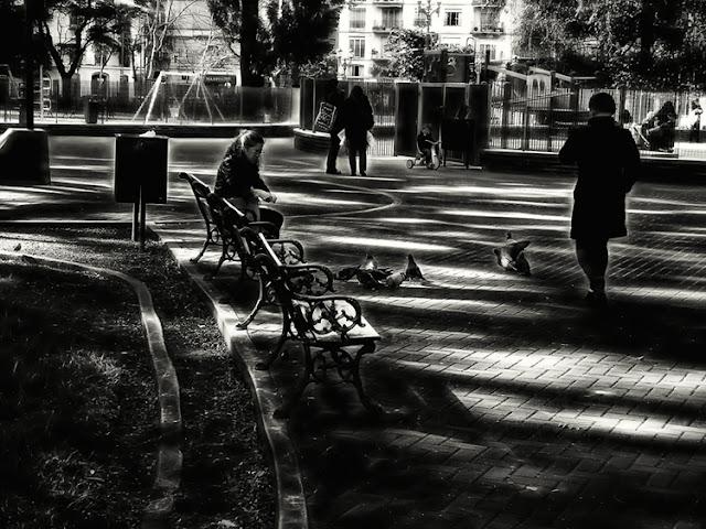 Blanco y Negro gente en plaza con palomas