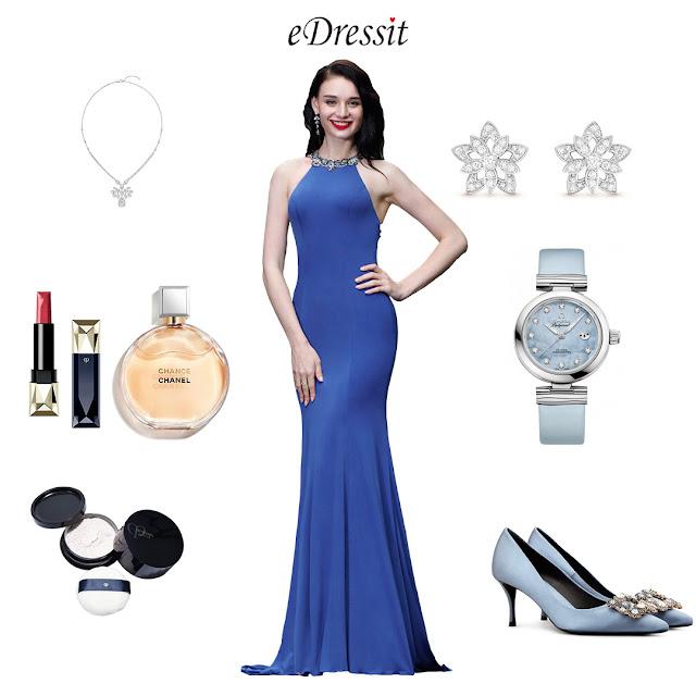 Elegant Blue Beaded Designer Backless Evening Dress
