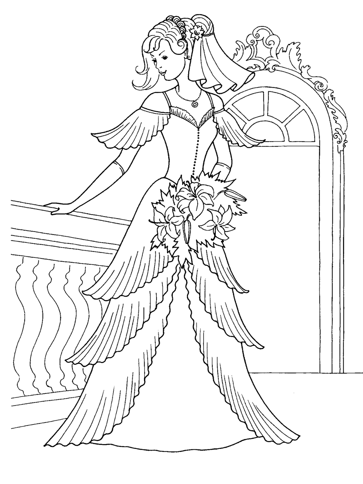 Princess Gown Disney Coloring Pages