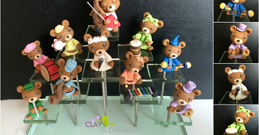 Teddy Bear musical troupe  | Clay Flower Art