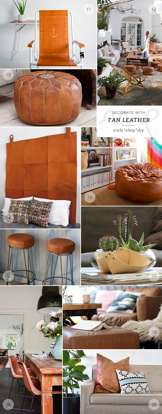 40 ways to decorate with tan leather by My Paradissi