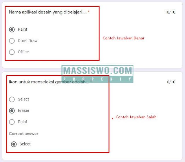 Melihat jawaban benar dan salah di google form