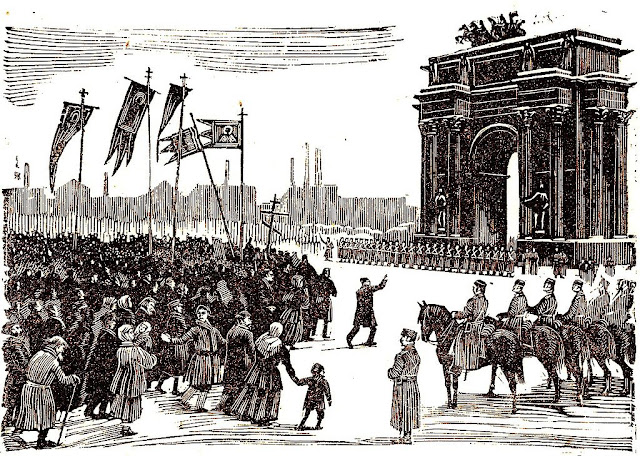 Drawing of Workers in Narva Gate during Bloody Sunday