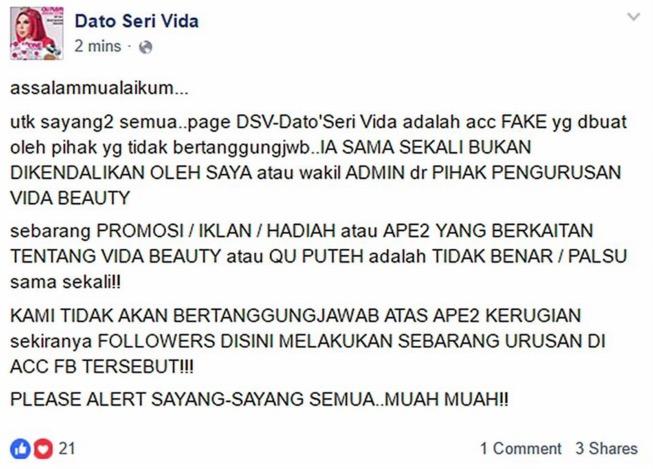 Datuk Seri Vida Bagi Beg LV Percuma