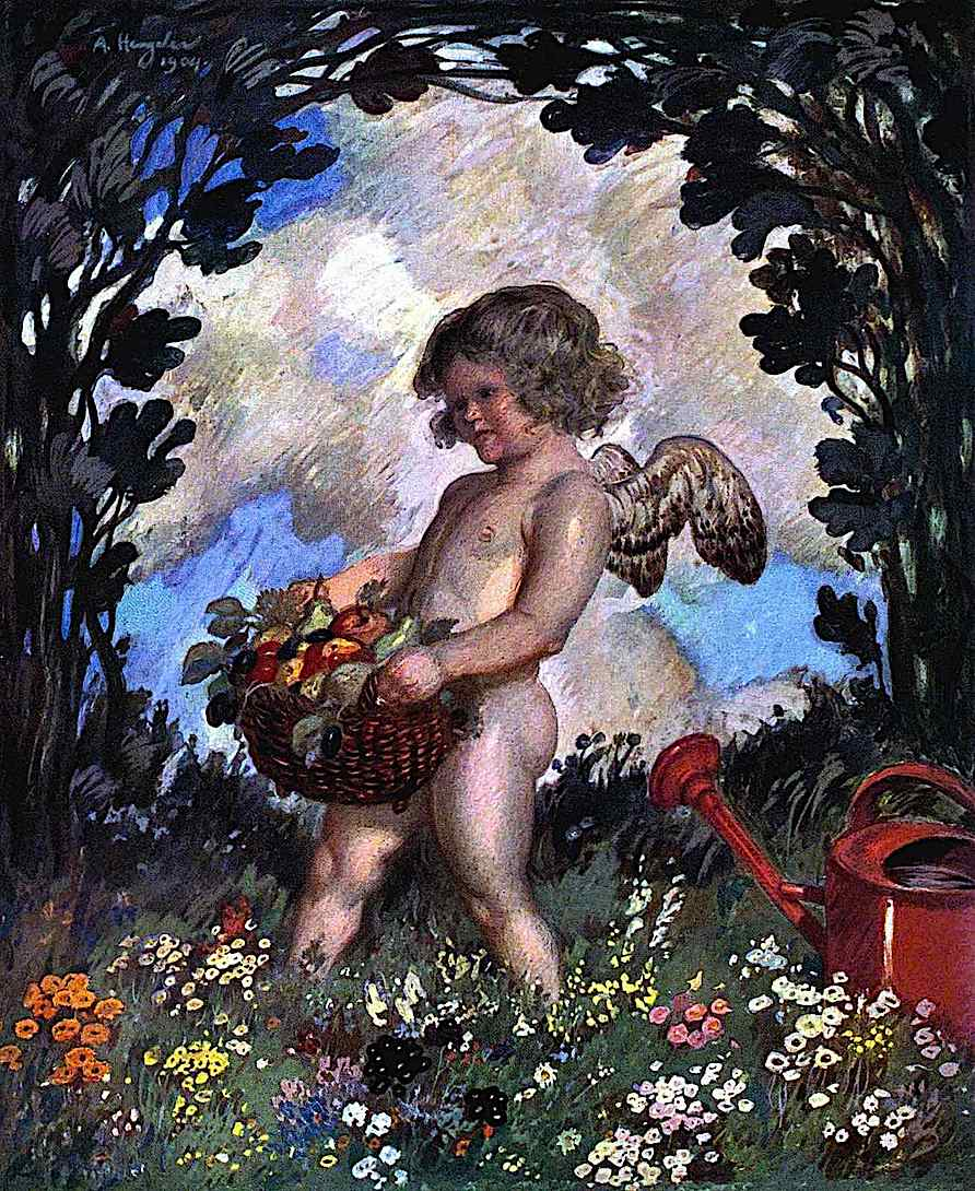 An Adolf Hengeler 1904 painting of a cherub angel with a basket of fruit