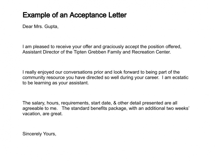 Acceptance Of Offer Letter Reply
