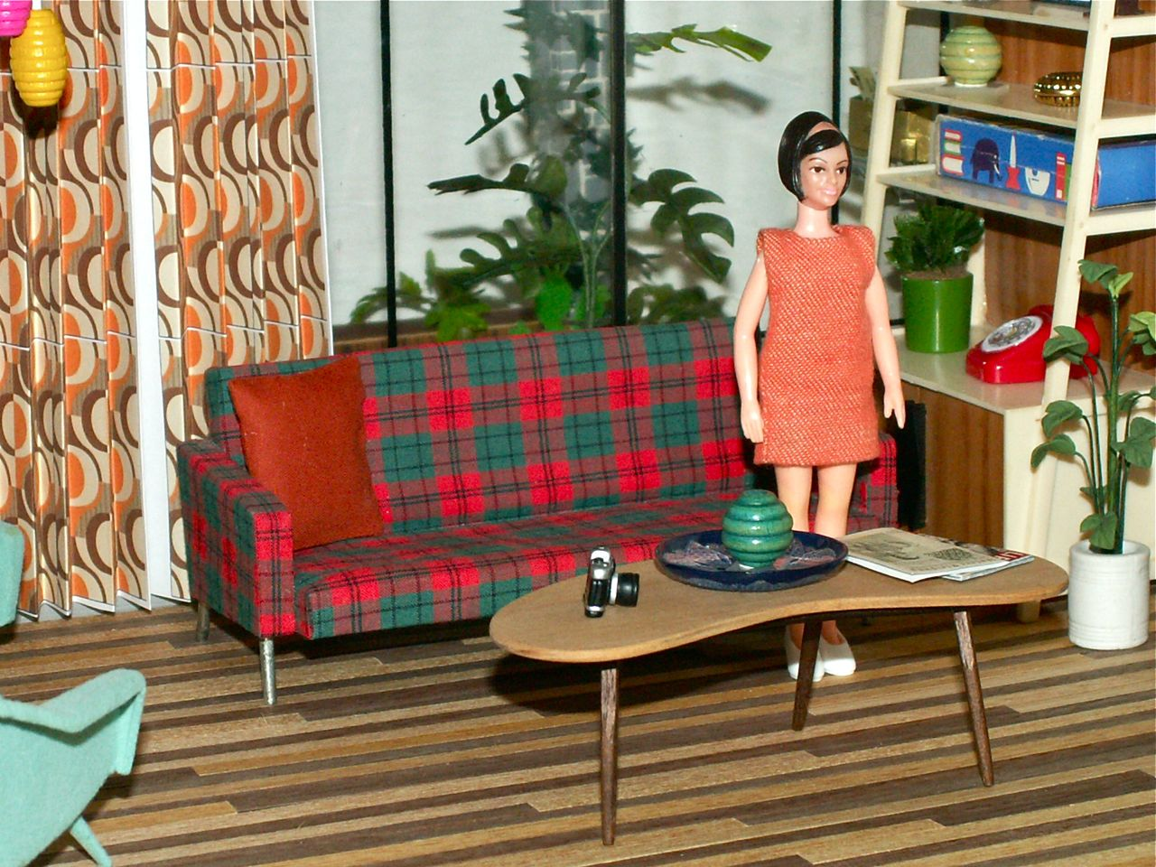ggsdolls: A Lovely Mid Century Modern Plaid Sofa!