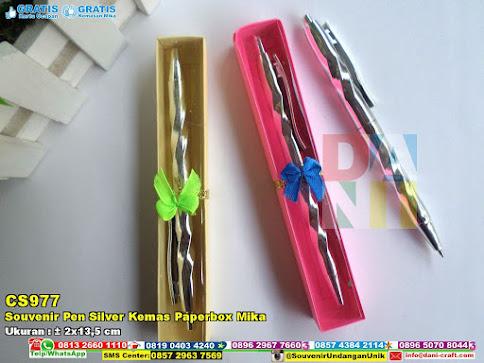 Souvenir Pen Silver Kemas Paperbox Mika