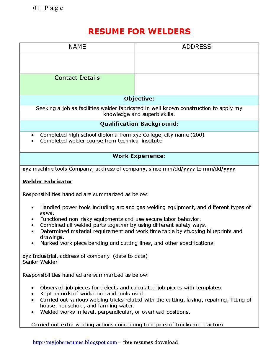 mig welder resume examples - Welder Resume Sample
