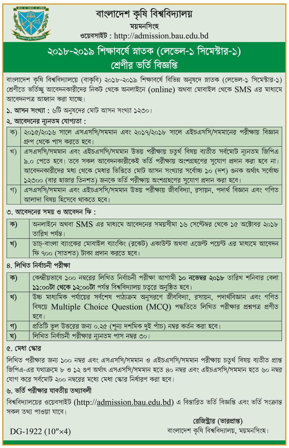 Bangladesh Agricultural University Admission Circular 2018-2019