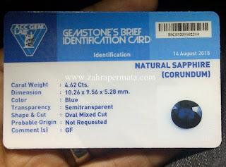 Batu Permata Royal Blue Safir + Memo - ZP 624