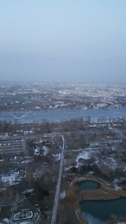 View across The Frozen Danube River from the Donauturm Tower