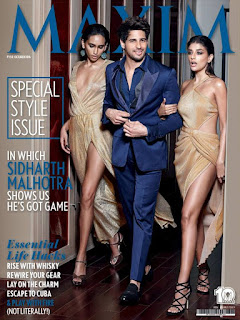 Sidharth Malhotra with Carla Dennis and Ninja Singh for Maxim India Style issue October 2016.