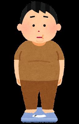 体重計に乗る人のイラスト(男性・肥満)