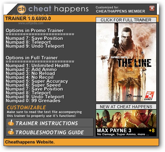 WELCOME TO HANTERSHELL FILES: Spec Ops: The Line +1 Trainer