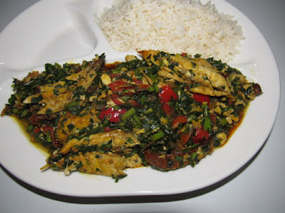 Nigerian Green leaf vegetable stew with rice
