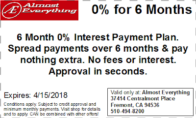 Coupon 6 Month Interest Free Payment Plan March 2018