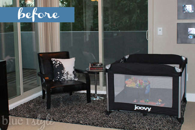 Master bedroom with joovy pack & play in the corner
