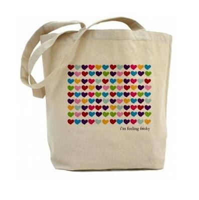 Bolso de moda de tela con corazones