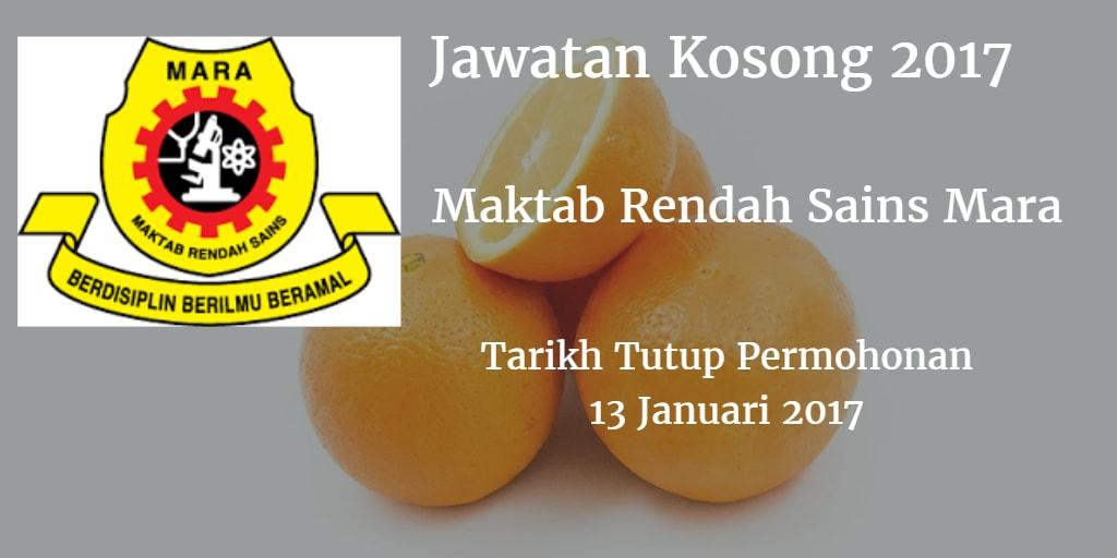 Jawatan Kosong MRSM 13 Januari 2017
