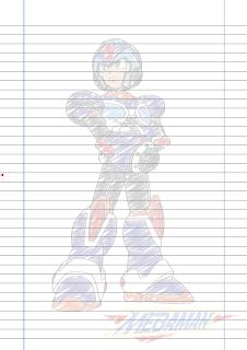 Folha Papel Pautado Megaman X rabiscado PDF para imprimir A4