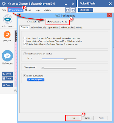Skype voice changer Virtual driver Mode