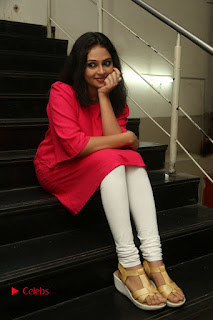 Actress Arundathi Nair Stills in Red Chididar at Bethaludu Success Meet  0117.JPG