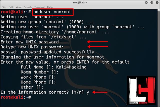 Kali Linux non root user setup