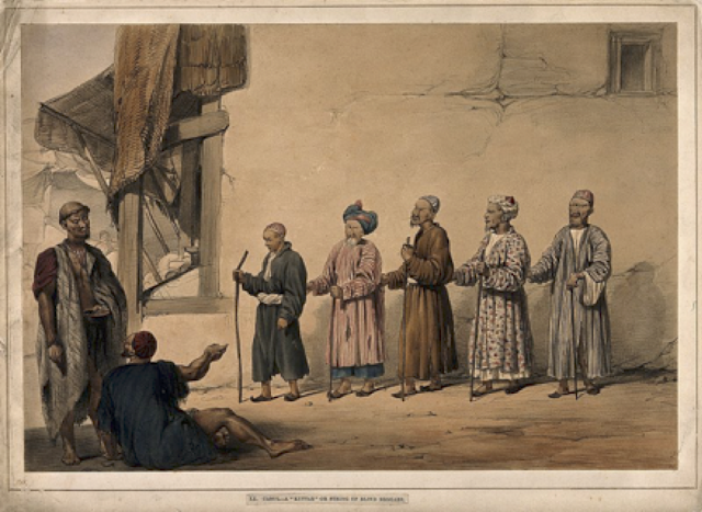 Source: Wellcome Trust, A kuttar or line of blind beggars in Kabul, 19th century