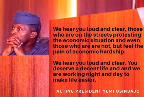 Osinbajo to Nigerians protesting: We Hear You, Loud & Clear