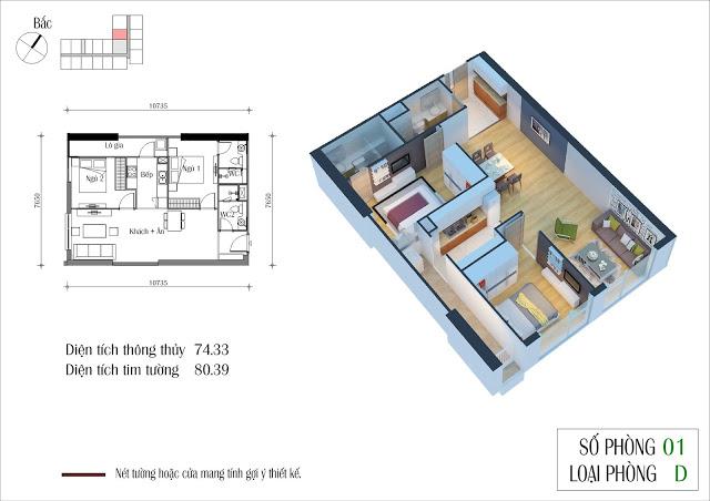 Sơ đồ thiết kế căn hộ 75m2 thông thuỷ toà CT4