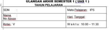 Soal UAS Semester 1 IPS Kelas 5 Dan Kunci Jawabannya