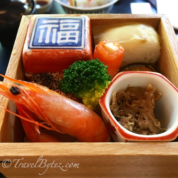 1st box: the prawn was succulent and fresh, the sushi was a delight and the salmon wrapped with butter was interesting.
