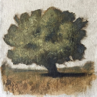 Daily Art 08-25-2018 tree study exercise with initial opaque layer
