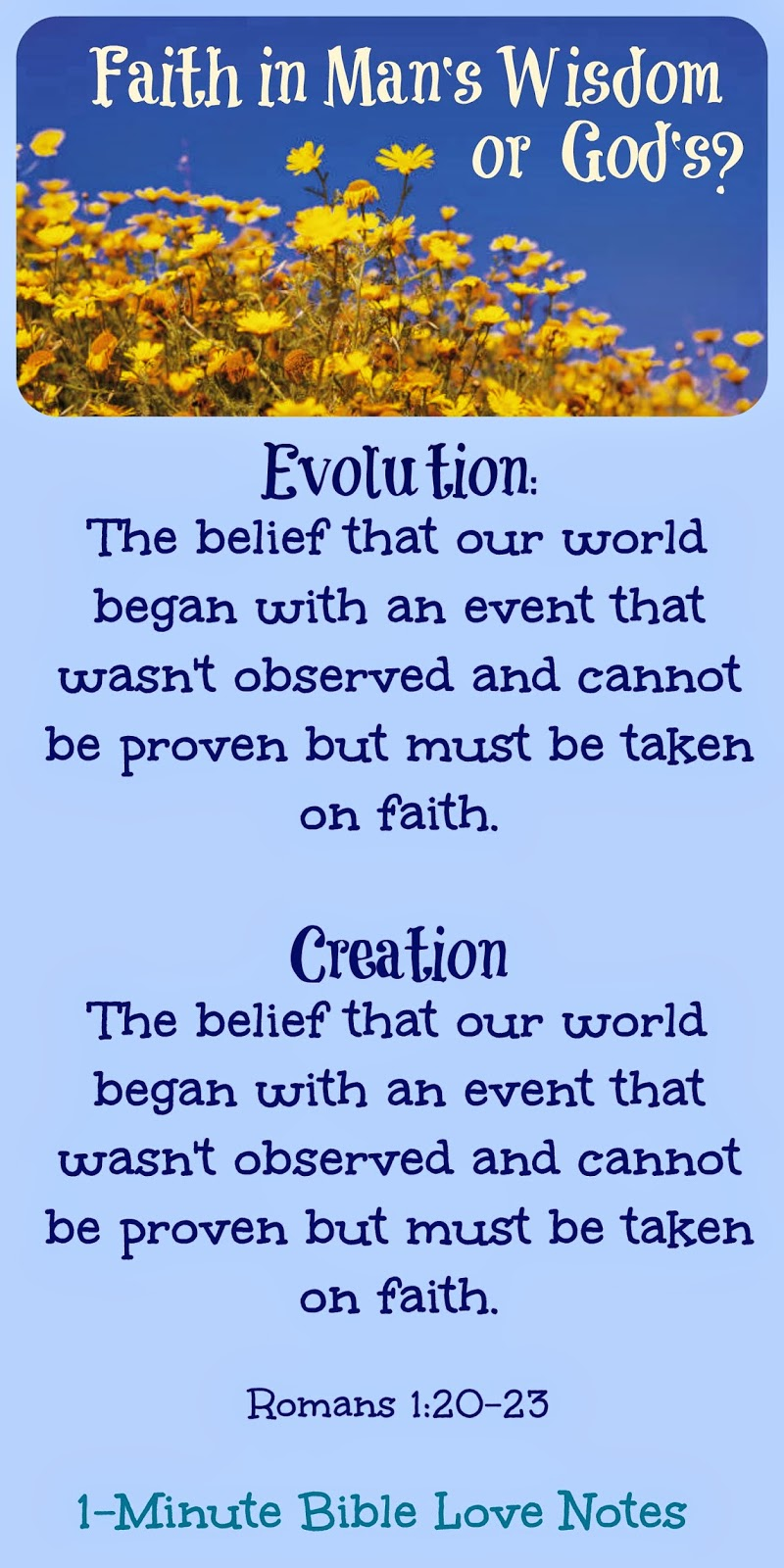 creation versus evolution, evolution is faith-based, faith in man or God