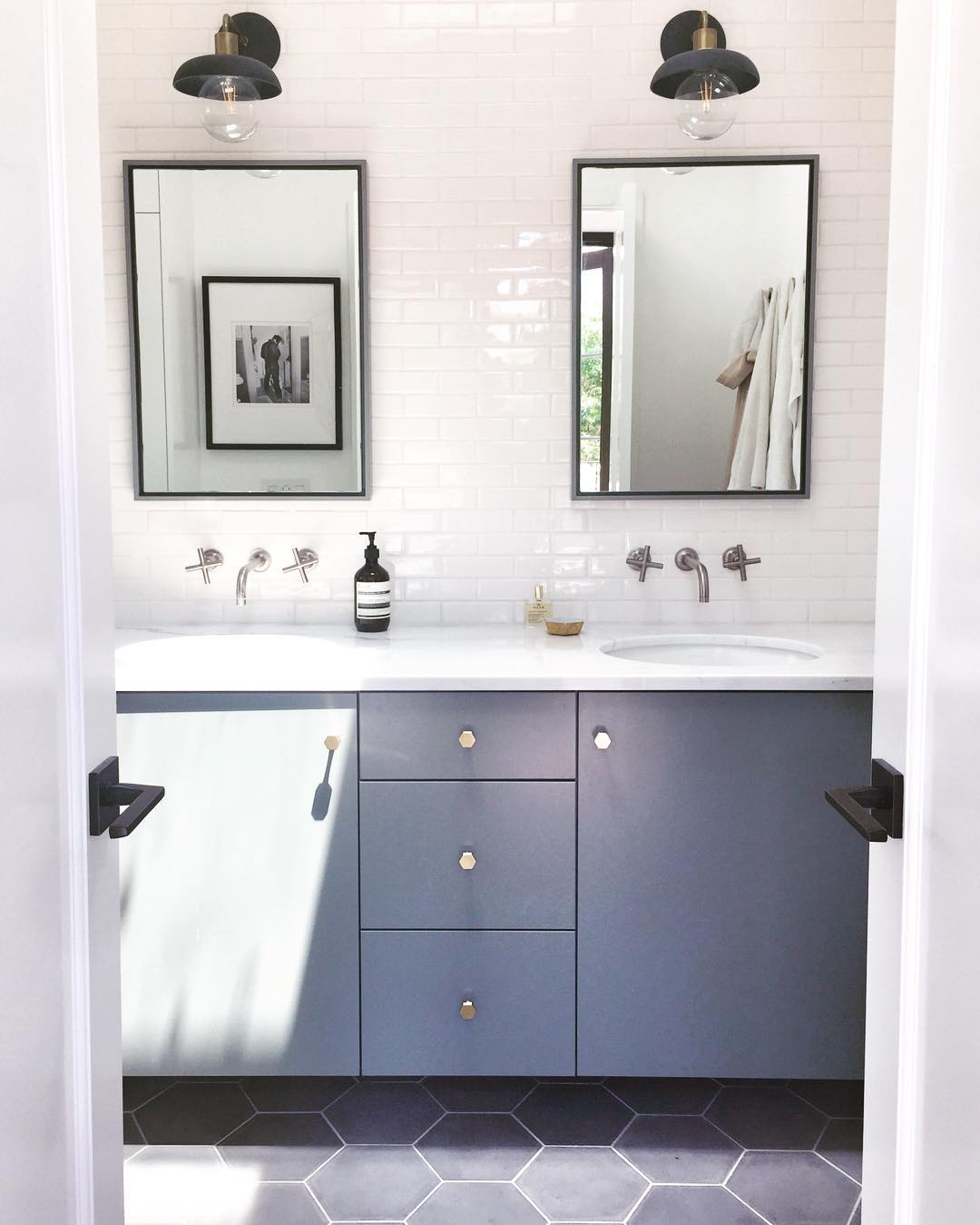 Dream bathroom reno: big grey hex tile, modern fixtures, and tile ...